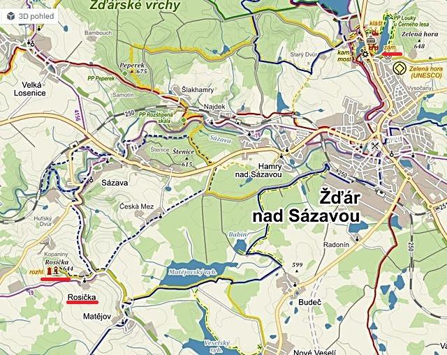 mapka okolí Žďáru nad Sázavou