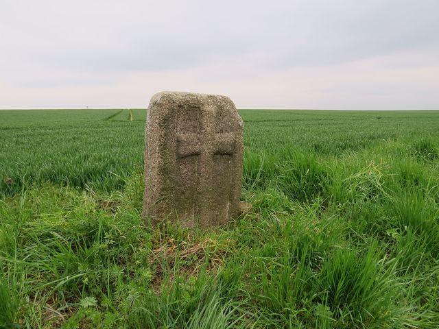 křížový kámen při třebíčské silnici mezi Valčí a Třebenicemi