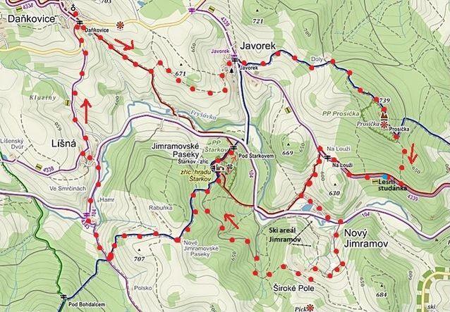 trasa z Daňkovic přes Javorek na Prosičku, do Nového Jimramova, na Štarkov, a přes Líšnou zpět do Daňkovic 7.5.2016