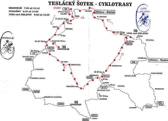 na mapce od pořadatelů jsem vyznačila okruh, který jsme absolvovali 21.5.2016 - Jihlava-Okrouhík-Popice-Cerekvička-Uhřínovice-Luka-Jihlava