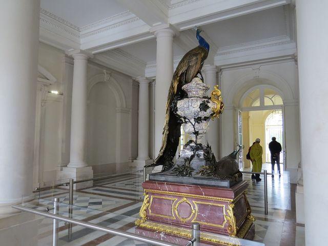 páv ve vstupní hale zámku
