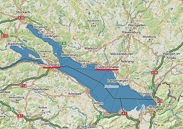 z Friedrichshafenu jsme pluli do Konstanz 21.6.2016