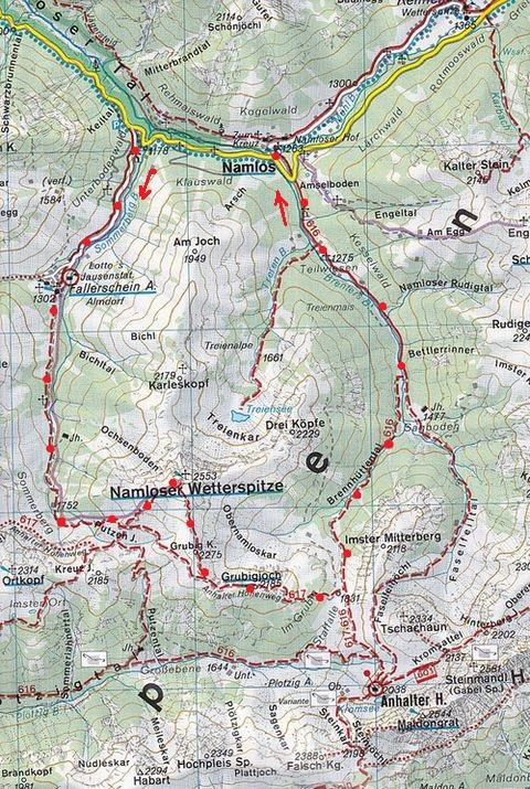 mapa se zakreslenou denní trasou