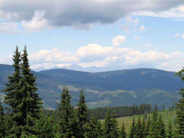 výhled na Vysoké Tatry z cesty k sedlu Severní louka