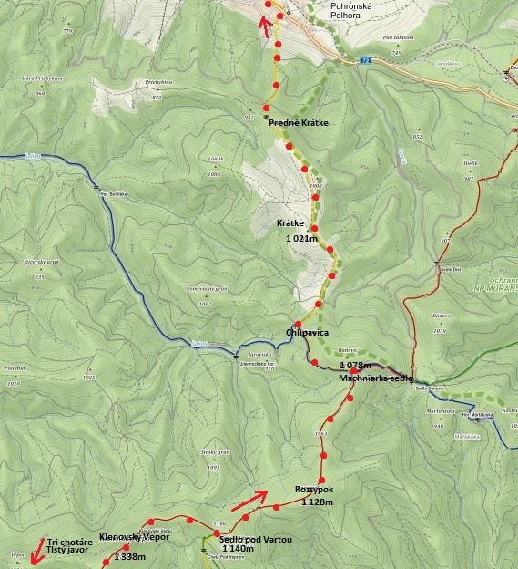 z Klenovského Vepra do sedla Pod Vartou a Machniarku, přes Krátke do Pohronské Polhory 5.7.2016 - 2. část trasy