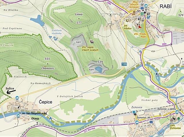 prohlídka skleněné sochy v Čepicích a návštěva města a hradu Rabí