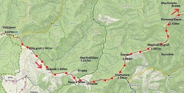 ze sedla Tlstý javor přes Tri chotáre na Klenovský Vepor 5.7.2016 - 1. část denní trasy