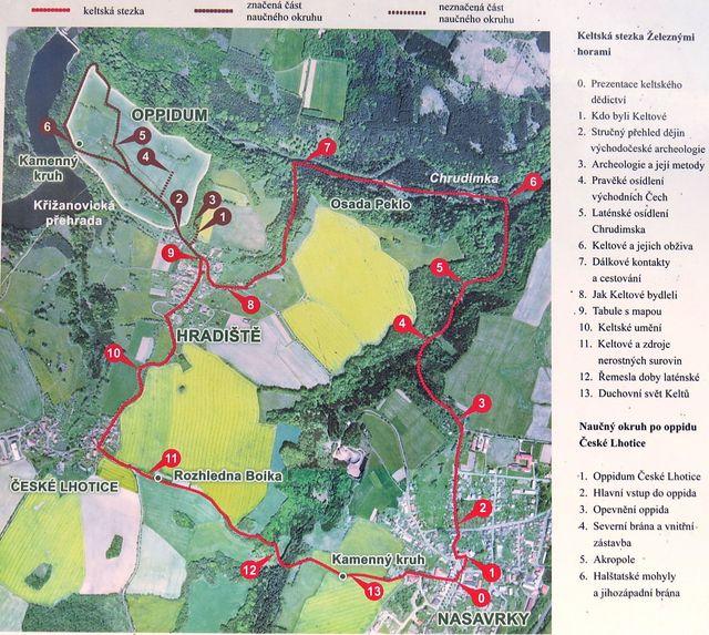 trasa Keltské stezky v okolí Nasavrk