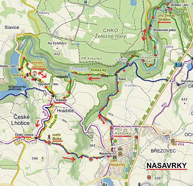 okruh z Nasavrk přes Peklo ke zřícenině Strádov, pak Keltskou NS do oppida, dále Hradiště, rozhledna Boika a zpět do Nasavrk 30.4.2016
