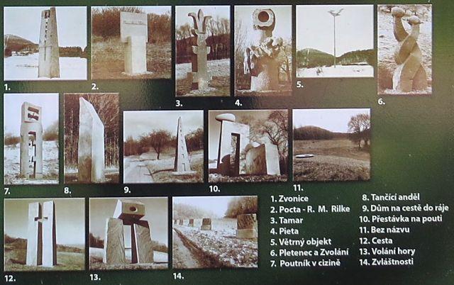 obrázky soch z infotabule v Bílce