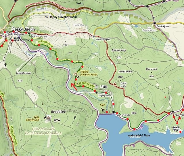 kanál začíná poblíž hráze přehrady, po svazích nad Jiřetínem teče přes hranici do Saska, u Clausnitz ústí do Muldy (Moldavy)