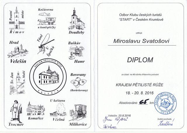 diplom s vyobrazením razítek, která poutníci získali na letošních trasách