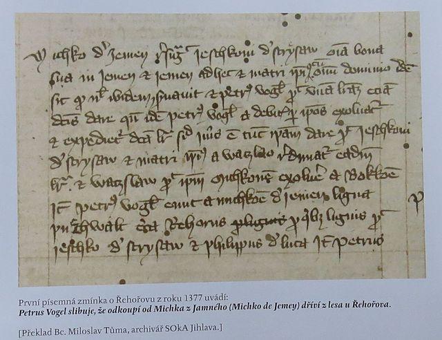 archivní listina z roku 1377 - dosud první zjištěná písemná zmínka o Řehořovu