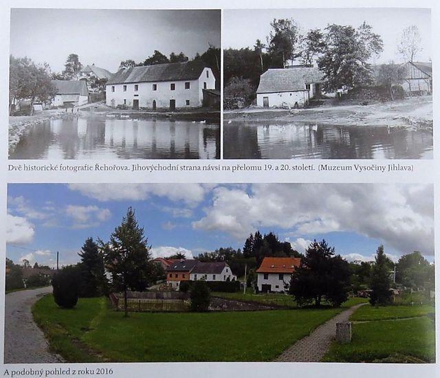 historický a současný obrázek středu obce Řehořova