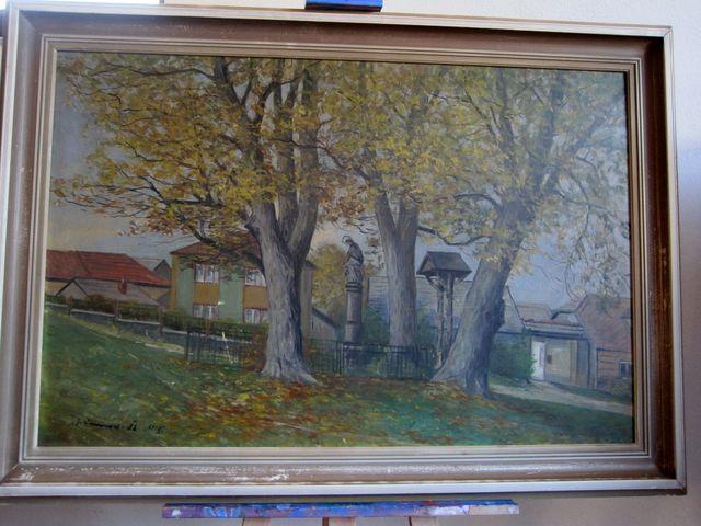 sv. Jan Nepomucký a zvonička na návsi; J. Kroupa 1982