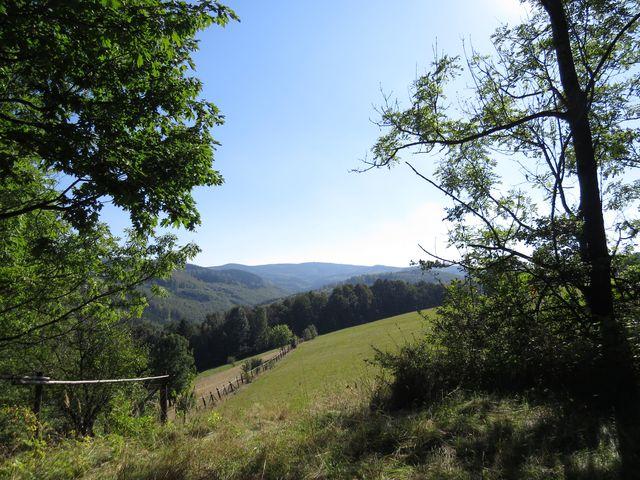 v pozadí masiv Borůvkové hory - pohled z cesty do Bílé Vody