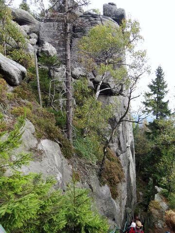 až 60 metrů vysoké strmé skalní stěny