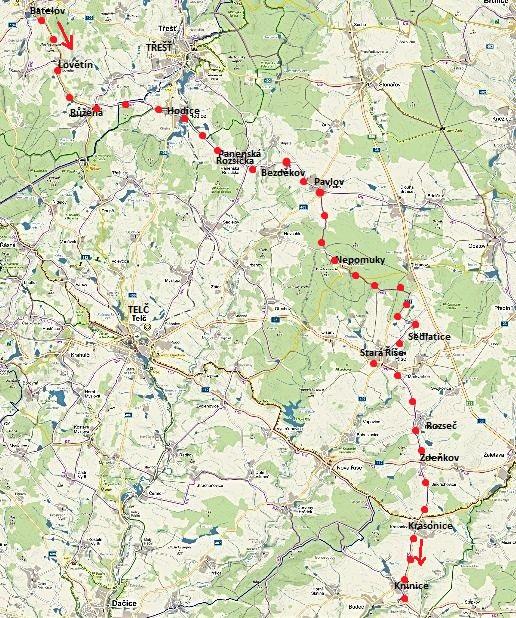 kontrola cyklotrasy č. 5092 z Batelova přes Starou Říši do Knínic 2.6.2016