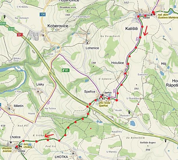 obnova zeleně značené pěší trasy z Kaliští přes Speřice do obce Lhotice 6.6.2016