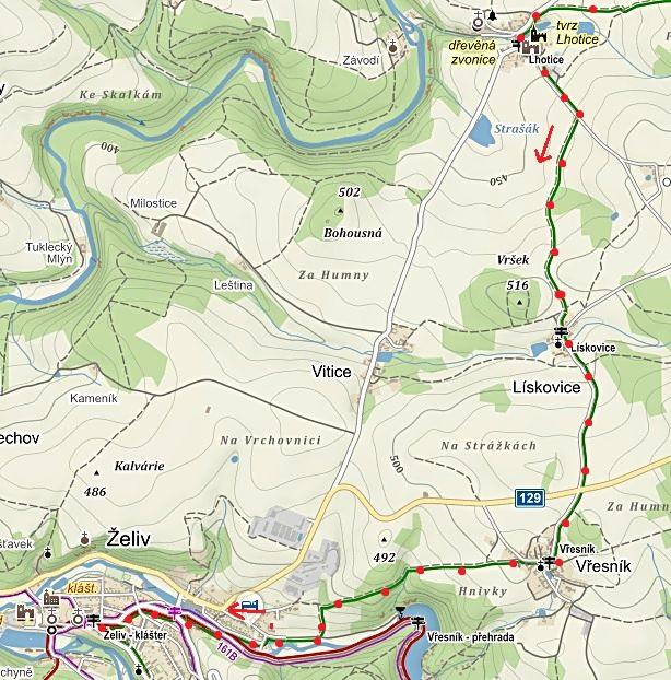 pokračování obnovy zeleně značené Cesty Gustava Mahlera ze Lhotic přes Lískovice a Vřesník do Želiva 10.6.2016