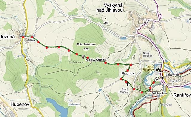 obnova zeleně značené pěší trasy z Rantířova přes Rounek a kapli sv. Antonína do Ježené 26.5.2016