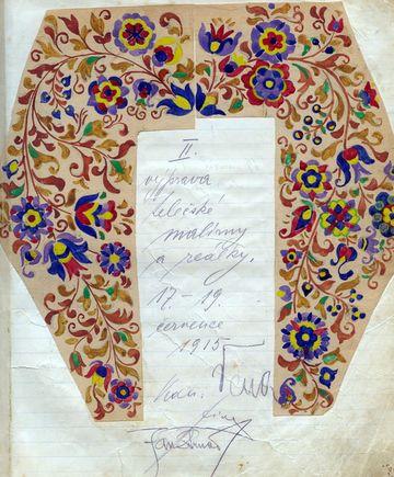 výprava telčské malírny 17.-19. července 1915, dole podpis prof. Strnada