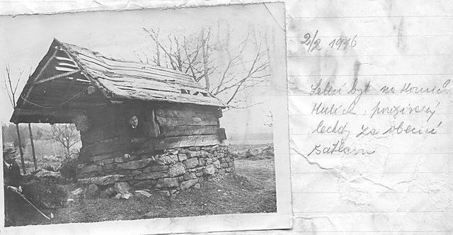 chatka stávala kdysi na Horních Hutích, vyfoceno 2.2.1916