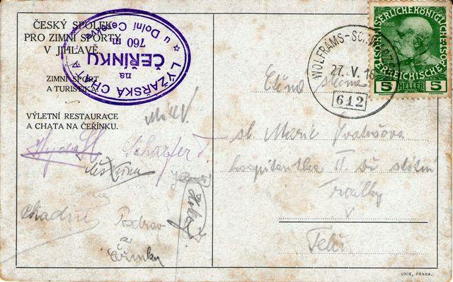 27.5.1916 odesláno z Kostelce (Wolframs) slečně Marii Svatošové