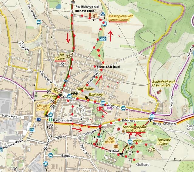 procházka po trase Masarykova věž, Hlohová kaple, centrum města, Smetanovy sady, vrch Gothard 20.11.2016