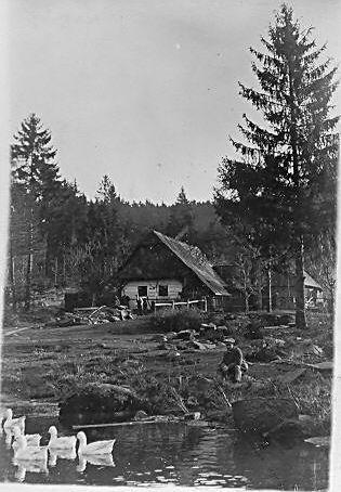 Dr. Kofroň vyfotil chalupu na Dolních Hutích kolem roku 1916