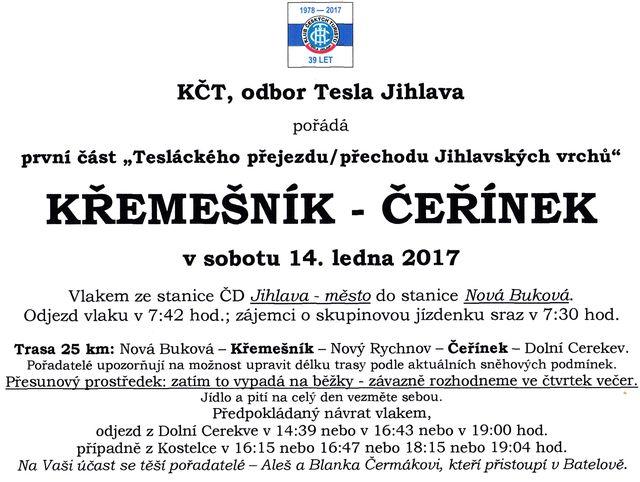 propozice první části přejezdu Jihlavských vrchů