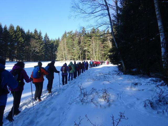 účastníci výstupu zvolili tradiční zeleně značenou trasu; foto V. Veselá