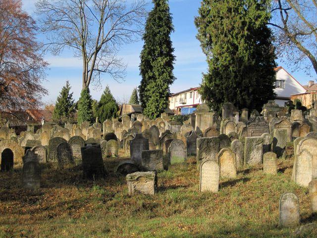 na hřbitově jsou dodnes zachované cenné náhrobky se znaky židovských rodů