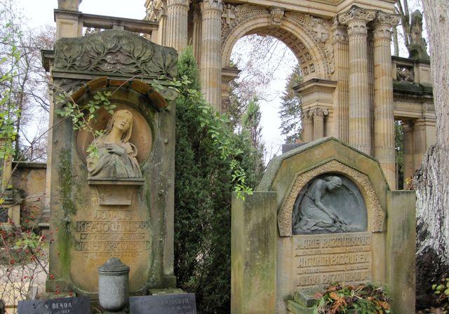 náhrobky na Novém hřbitově