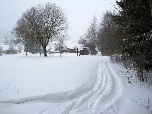 zasněžená krajina na Českomoravské vrchovině pod Křemešníkem