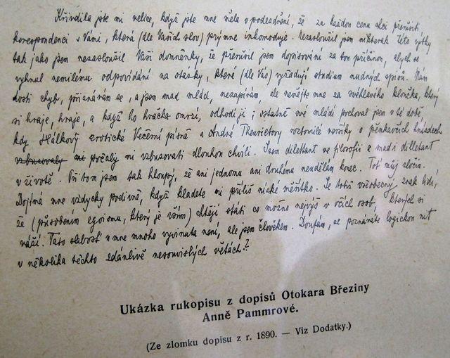 dopis O. Březiny A. Pammrové uchovaný v muzeu v Nové Říši