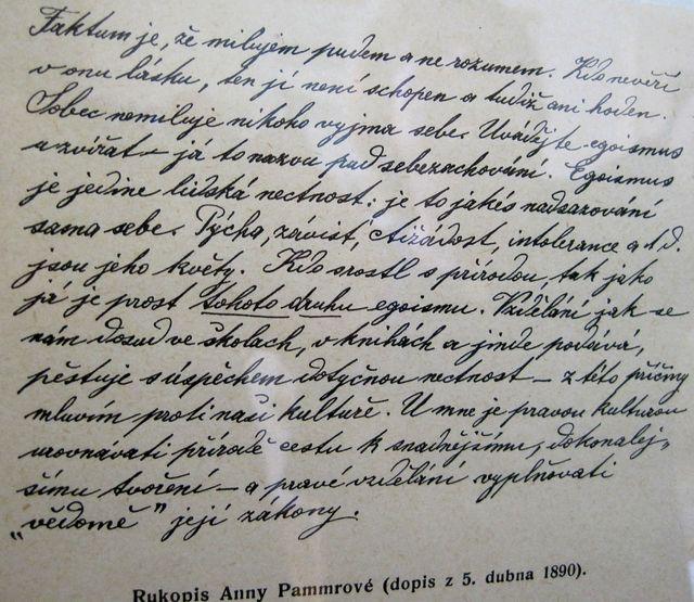 A. Pammrová píše O. Březinovi - muzeum v Nové Říši