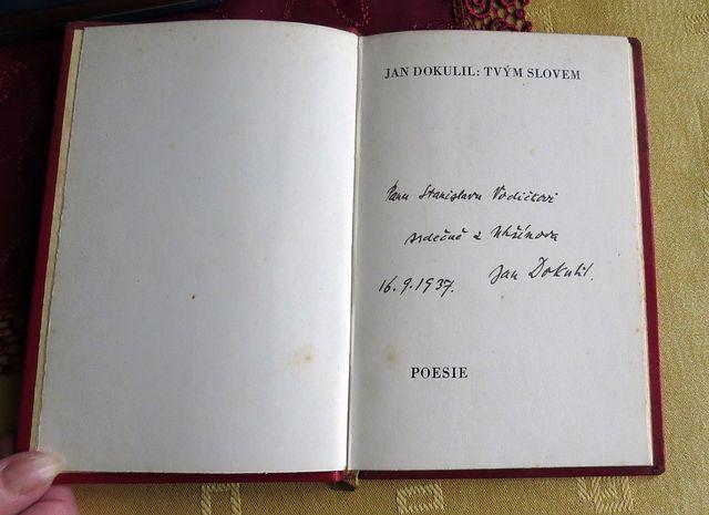 věnovací text Jana Dokulila, kněze-básníka