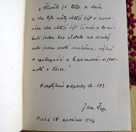 Jan Čep zapsal své řádky v roce 1946