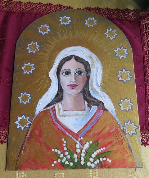 tuto Madonu s konvalinkami namalovala na kovovou desku paní Dohnalová - obrázek je určen pro boží muka