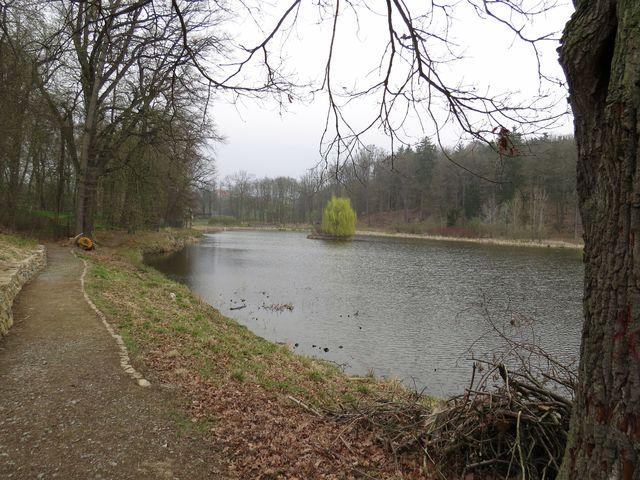 rybník Březina vybudovaný ve sníženině mezi zámkem a oborou