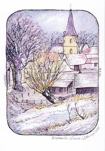 dominantou Jinošova je věž samostatně stojící u kostela