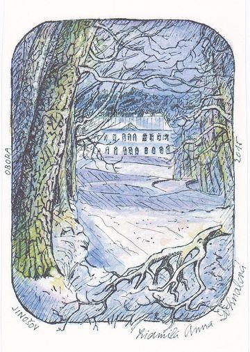 zimní výhled z schönwaldské obory na zámek