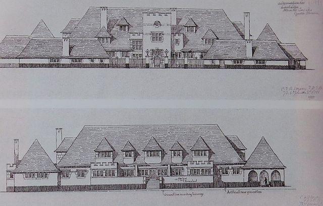 návrh rezidence v Henčově, autorem je Charles Francis Voysey (z knihy Löwovi