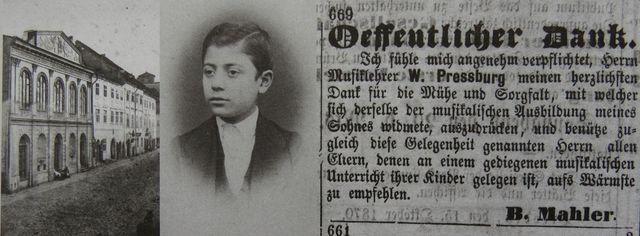 průčelí městského divadla, Gustav Mahler v roce 1871, vedle Veřejné poděkování jeho otce učiteli hudby W. Pressburgerovi