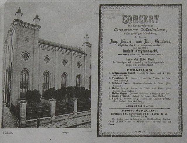 synagoga vypálená v roce 1939, vedle program koncertu z r. 1876 - GM už byl žákem vídeňské konzervatoře