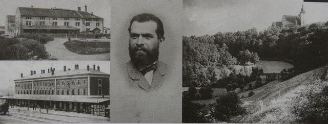 fotografie z dob Mahlerových - nahoře pivovar, pod ním budova nádraží, uprostřed Heinrich Fischer, vpravo údolí Heulos a kostel sv. Jakuba