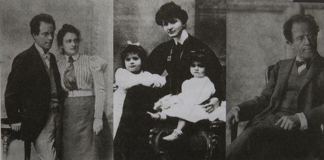 Gustav Mahler se sestrou Justinou (1899), manželka Alma s dcerami Marií a Annou (asi v roce 1907, Gustav Mahler (1907)