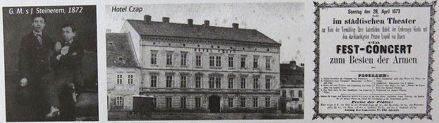 s přítelem Josefem Steinerem, hotel Czap, program koncertu v divadle (1873)