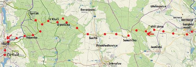 trasa z Brtnice do Sokolíčka, Suché a Třeště 4.3.2017